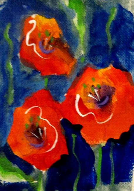 Art: Red and Orange Poppies Aceo by Artist Delilah Smith