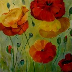Art: Warm Poppies-sold by Artist Delilah Smith
