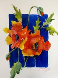 Art: Poppies on Blue by Artist Delilah Smith