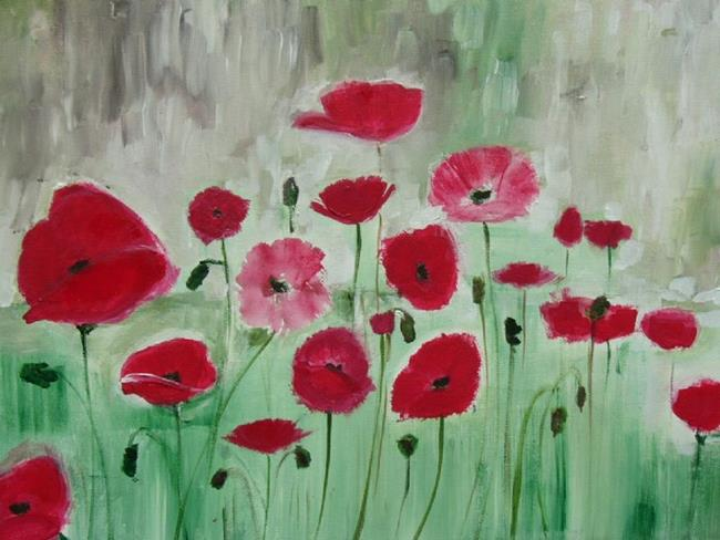 Art: abstract red poppies by Artist Eridanus Sellen