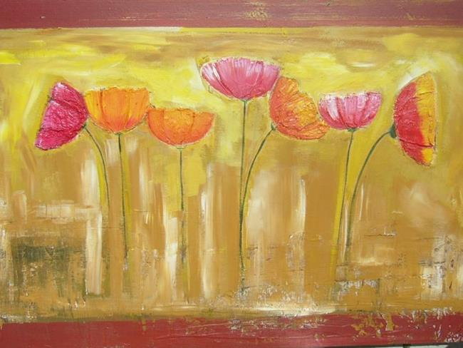 Art: TEXTURED FRESCO POPPIES by Artist Eridanus Sellen