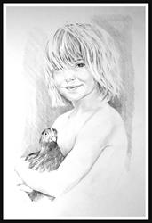 Art: Rachael with Rooster, age 4 by Artist David Mott