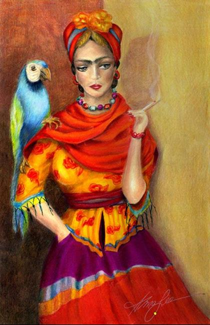 Art: Selma Hayek as Frida by Artist Alma Lee