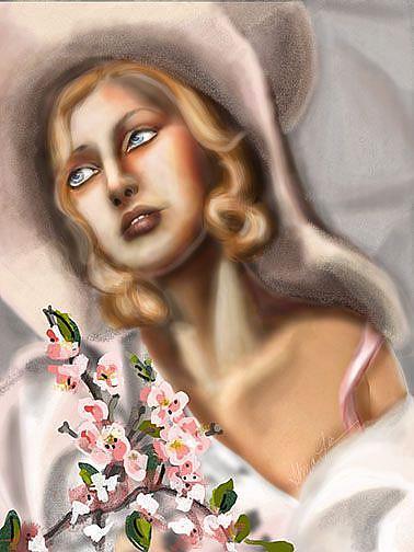 Art: Girl in Pink Straw Hat: Ode to Tamara de Lempicka by Artist Alma Lee
