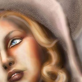 Detail Image for art Girl in Pink Straw Hat: Ode to Tamara de Lempicka