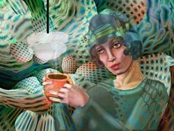 Art: Coffee in the Green Room by Artist Alma Lee