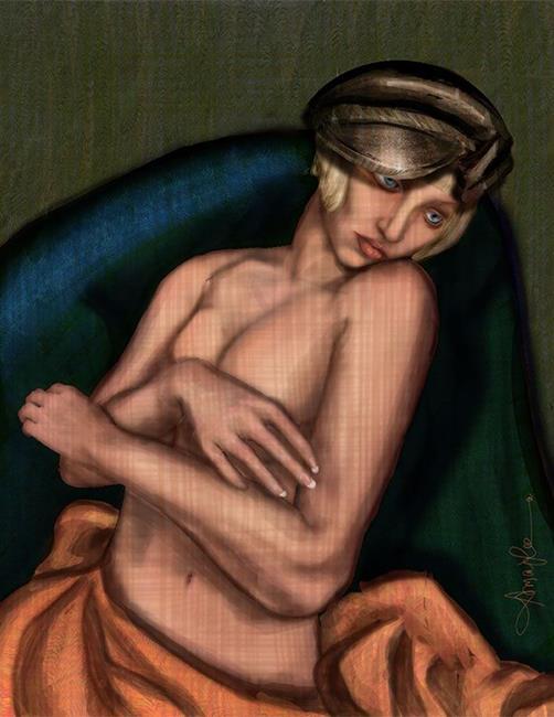 Art: Girl in a Newsboy by Artist Alma Lee