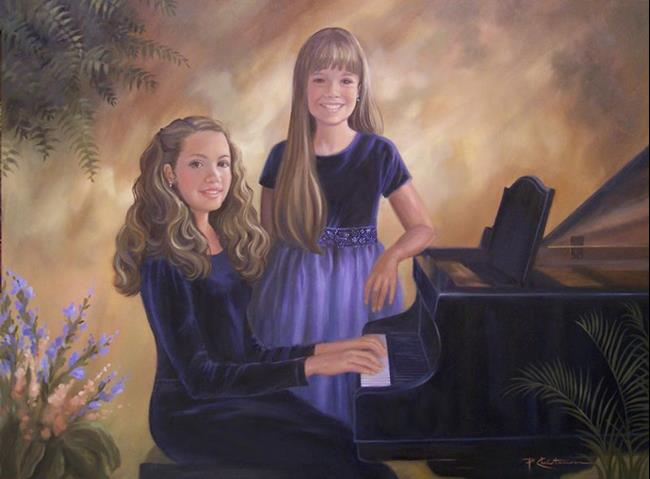 Art: Sisters At The Piano by Artist Patricia  Lee Christensen