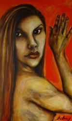 Art: Self Portrait Orange by Artist Kelli Ann Dubay
