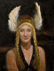 Art: The defiance of Brunhilde - valkyrie nordic portrait by Artist Karen Winters