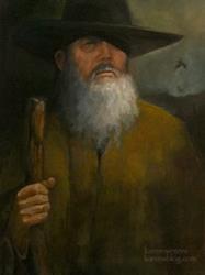 Art: The Wanderer's Journey (Wotan/Odin) oil painting by Artist Karen Winters