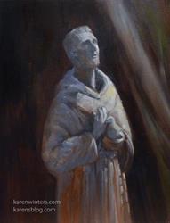 Art: St Francis statue painting Mission San Juan Bautista by Artist Karen Winters