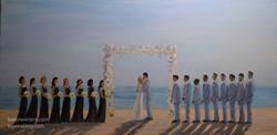 Art: Wedding oil painting - St. Malo Beach, Oceanside, CA SOLD by Artist Karen Winters