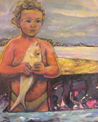 Art: Boy with Fish (sold) by Artist Virginia Ann Zuelsdorf