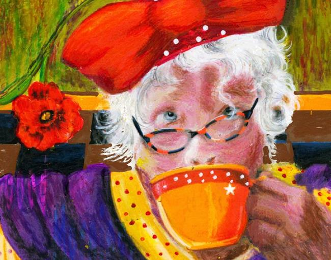 Art: When I am Old...I shall drink coffee by Artist Alma Lee