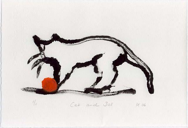 Art: Cat and Ball by Artist Gabriele Maurus