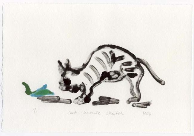 Art: Cat Mouse Sketch by Artist Gabriele Maurus