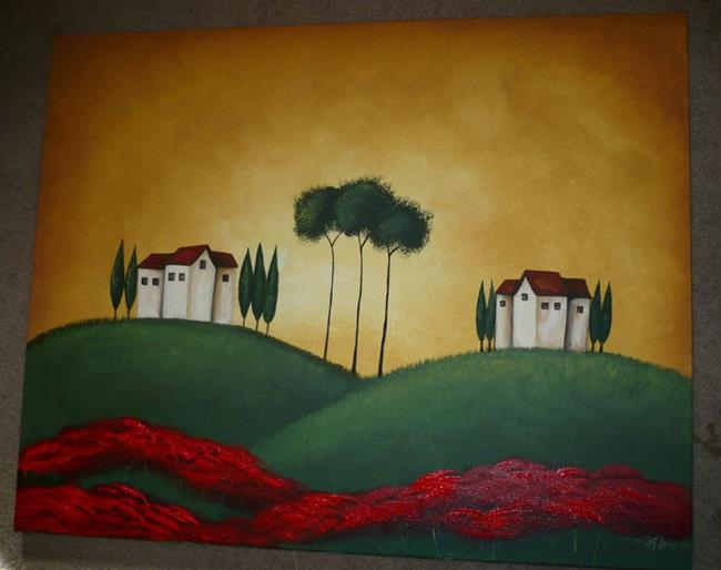 Art: Tuscan Villas and Poppies II by Artist Charlene Murray Zatloukal