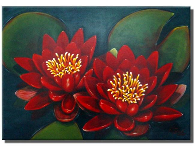 Art: The Two Red Water Lilies by Artist Rita C. Ford
