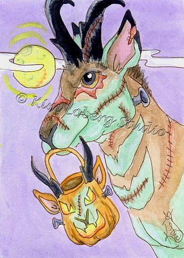 Art: Frank the Zombie Pronghorn Antelope - SOLD by Artist Kim Loberg