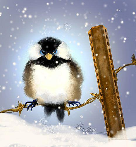 Art: Chickadee:Puffybuttons by Artist Alma Lee