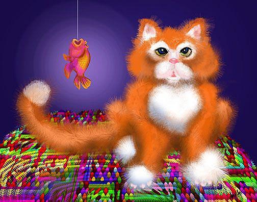 "Art: Orange Tabby PuffyButtonsâ""¢ by Artist Alma Lee"