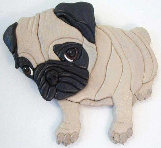 Art: Pug Pup Original Painted Intarsia Art by Artist Gina Stern