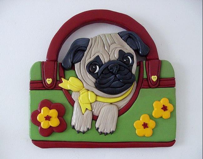 Art: Pug Puppy..Pug Shopper Original Painted Intarsia Art by Artist Gina Stern