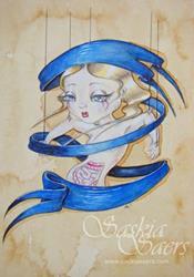 Art: Ribbonette Dark Blue by Artist Saskia Franken-Saers