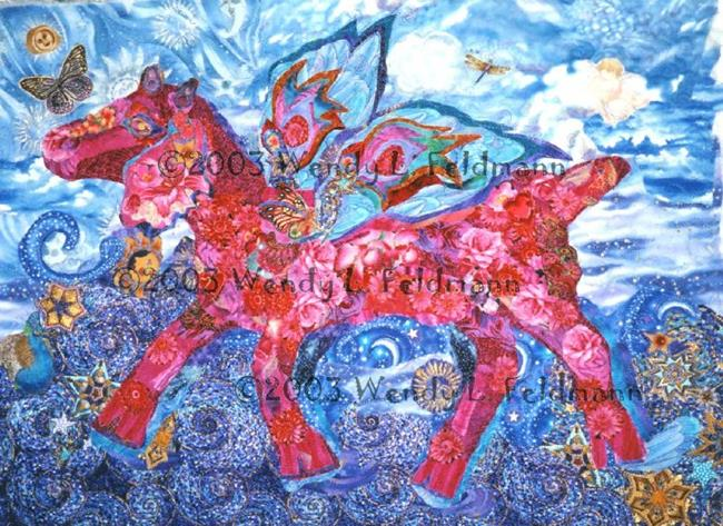 Art: Hot Pink Flyin' Faerie Goat by Artist Wendy L Feldmann
