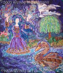 Art: Morgaine, Summoning the Boat by Artist Wendy L Feldmann