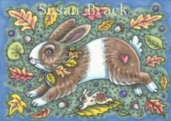 Art: ACORNS AND AUTUMN HARES by Artist Susan Brack
