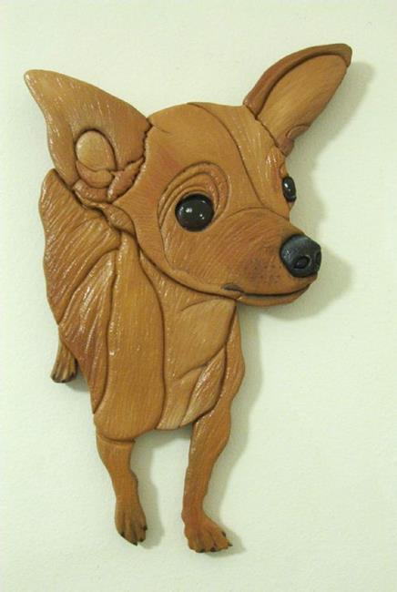 Art: RED CHIHUAHUA ORIGINAL PAINTED INTARSIA ART by Artist Gina Stern