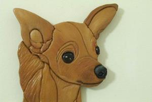 Detail Image for art RED CHIHUAHUA ORIGINAL PAINTED INTARSIA ART