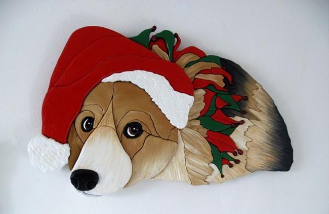 Art: Reluctant Corgi Santa ORIGINAL PAINTED INTARSIA ART by Artist Gina Stern