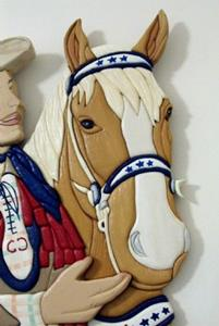 Detail Image for art ROY ROGERS AND TRIGGER  ORIGINAL PAINTED INTARSIA ART