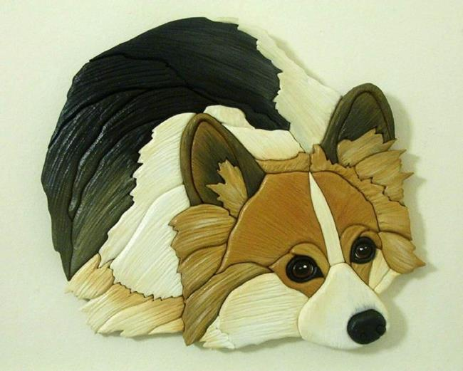 Art:  CORGI :FLUFF BALL  ORIGINAL PAINTED INTARSIA ART by Artist Gina Stern