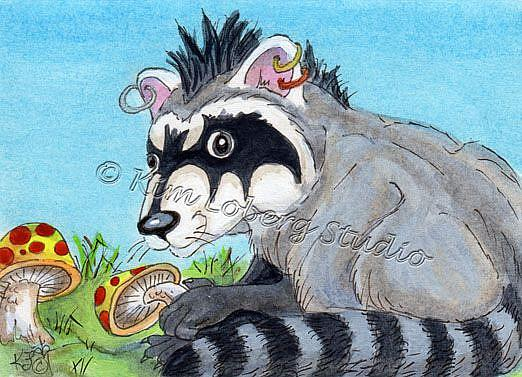Art: Mushroom Thief - Goth Raccoon by Artist Kim Loberg
