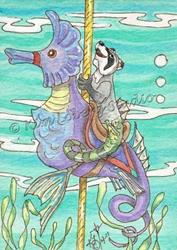 Art: Raccoon Hippocampus Riding the Sea Horse Carousel by Artist Kim Loberg