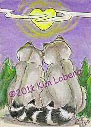 Art: Raccoons in Love SOLD by Artist Kim Loberg