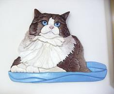 Art: Ragdoll Cat Sitting Pretty Original Painted Intarsia Art by Artist Gina Stern