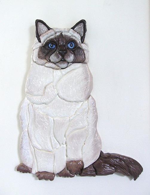 Art: Siamese/Ragdoll Cat original Intarsia Art by Artist Gina Stern