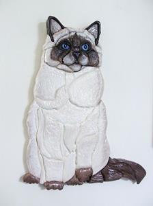 Detail Image for art Siamese/Ragdoll Cat original Intarsia Art