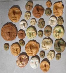 Art: Ceramic clay face tile shards by Artist Deborah Sprague
