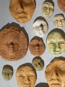 Detail Image for art Ceramic clay face tile shards