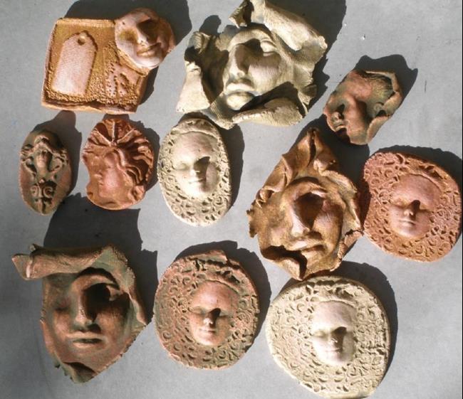Art: Large face shard tile lot by Artist Deborah Sprague