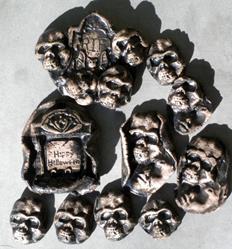 Art: Skull Halloween Tile shard lot by Artist Deborah Sprague