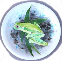 Art: Frog platter by Artist Deborah Sprague