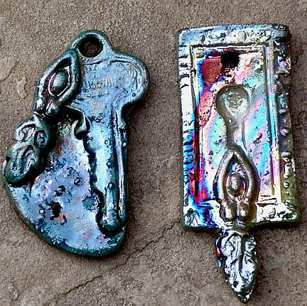 Art: Raku Goddess Key to your creativity by Artist Deborah Sprague