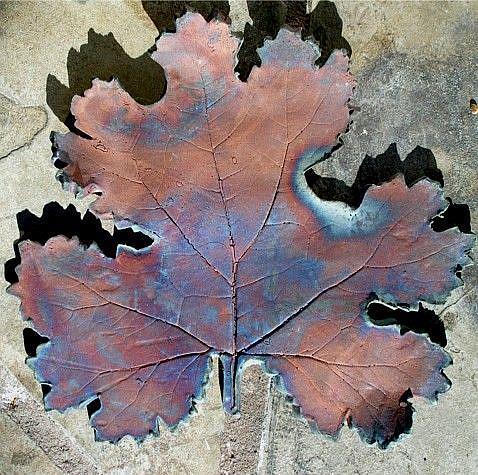 Art: RAKU leaf by Artist Deborah Sprague